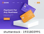 bank cards on a square white...   Shutterstock .eps vector #1931803991