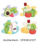 fresh healthy food set icons | Shutterstock .eps vector #1931811527