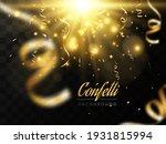 golden confetti falls on a...   Shutterstock .eps vector #1931815994