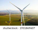 Panoramic View Of Wind Farm Or...