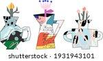cute hand drawn artistic pots... | Shutterstock .eps vector #1931943101