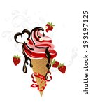 strawberry ice cream in cone...   Shutterstock .eps vector #193197125