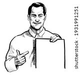smiling man pointing at blank...   Shutterstock . vector #1931991251
