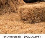 Haystack Or Hay Straw. Mowed...