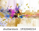 abstract oil painting yellow ... | Shutterstock . vector #1932040214