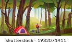 traveler camp in forest ... | Shutterstock .eps vector #1932071411