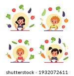 children eat salad. vitamin... | Shutterstock .eps vector #1932072611
