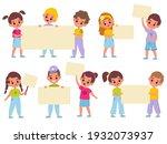 children with banners. cartoon... | Shutterstock .eps vector #1932073937