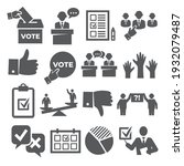vote icons set on white... | Shutterstock .eps vector #1932079487
