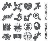 puzzle icons set on white... | Shutterstock .eps vector #1932080021