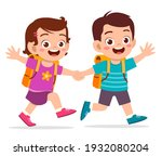 cute kid boy and girl holding...   Shutterstock .eps vector #1932080204