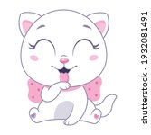 little white cat with pink bow...   Shutterstock .eps vector #1932081491