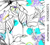 floral black white print....   Shutterstock .eps vector #1932082571