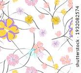 pink flowers blooming pattern....   Shutterstock .eps vector #1932082574