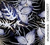 tropical leaf. modern motif....   Shutterstock .eps vector #1932082577