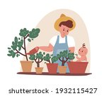 young father doing gardening... | Shutterstock .eps vector #1932115427
