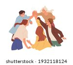 team of happy colleagues giving ... | Shutterstock .eps vector #1932118124