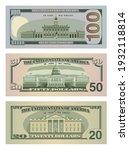 set of one hundred dollars ... | Shutterstock .eps vector #1932118814