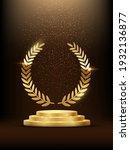 golden podium with laurel... | Shutterstock .eps vector #1932136877