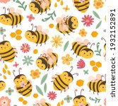 cute bee pattern. bees and... | Shutterstock .eps vector #1932152891