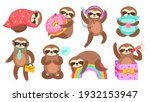 sloth characters. isolated... | Shutterstock .eps vector #1932153947
