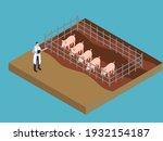 male veterinarian working at... | Shutterstock .eps vector #1932154187