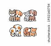 set of cute funny cats and dogs ... | Shutterstock .eps vector #1932160754