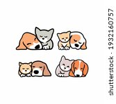 set of cute funny cats and dogs ... | Shutterstock .eps vector #1932160757