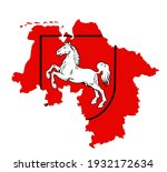 coat of arms over map of lower... | Shutterstock .eps vector #1932172634