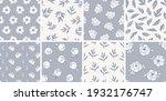 set of line art seamless... | Shutterstock .eps vector #1932176747