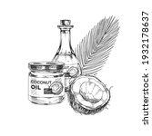 coconut oil set  retro hand... | Shutterstock .eps vector #1932178637