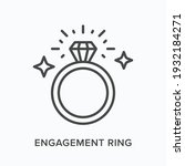 engagement ring flat line icon. ... | Shutterstock .eps vector #1932184271