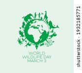 world wildlife day poster with... | Shutterstock .eps vector #1932185771