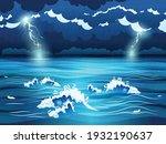 sea waves and dark sky with... | Shutterstock .eps vector #1932190637