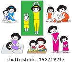 moms spend quality time with... | Shutterstock .eps vector #193219217