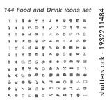 144 food and drink icon set... | Shutterstock .eps vector #1932211484