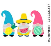 cute summer gnome  vector... | Shutterstock .eps vector #1932221657