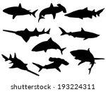 Set Of Shark Silhouettes....