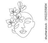 minimal woman face on white... | Shutterstock .eps vector #1932255854