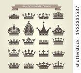 heraldic symbols  royal crowns...   Shutterstock .eps vector #1932335537