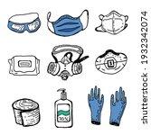 coronavirus self protection... | Shutterstock .eps vector #1932342074