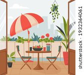 cozy summer balcony with...   Shutterstock .eps vector #1932364061
