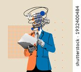 Small photo of Preparing reports. Comics styled bright orange and blue suit. Modern design, contemporary art collage. Inspiration, idea concept, trendy urban magazine style. Negative space to insert your text or ad.