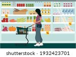 the interior of a grocery... | Shutterstock .eps vector #1932423701