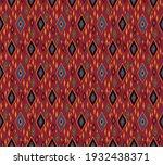 diagonal ikat stripes. zigzag... | Shutterstock .eps vector #1932438371
