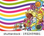 background with kawaii sport... | Shutterstock .eps vector #1932459881