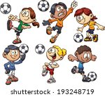 cartoon kids playing soccer.... | Shutterstock .eps vector #193248719