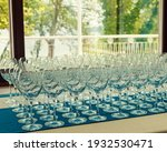 Many Empty Wine Glasses In A...