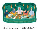 muslim family at dinner  iftar... | Shutterstock .eps vector #1932531641