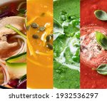 collage made of different soups.... | Shutterstock . vector #1932536297